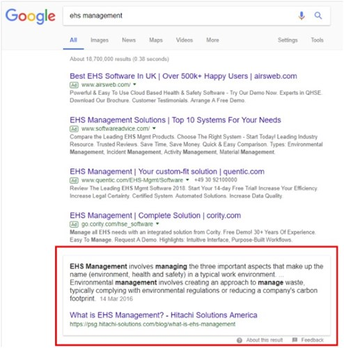 Google Feature Snippet and Position 0 ranking