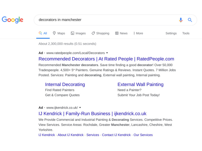 Example of Google Ads for decorators in manchester