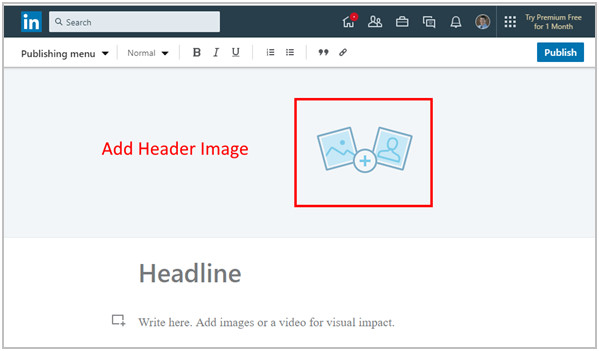 Opening screen for uploading a LinkedIn article header graphic