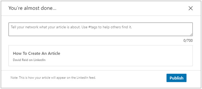 Image showing how to publish a linkedin article