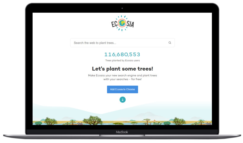 Image of the ecosia search engine helping saving the world