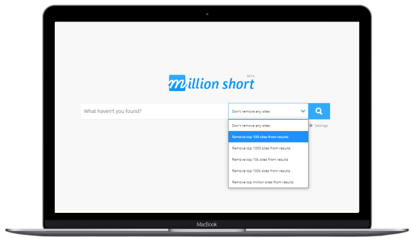 screenshot of million short search engine
